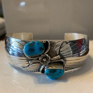 Navajo Artist Reeves Turquoise And Sterling Cuff